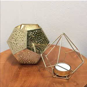 Gold  Geometric Votive and Tealight Candle Holders